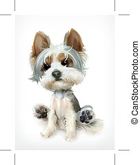 Little Puppy, vector icon, isolated on white background