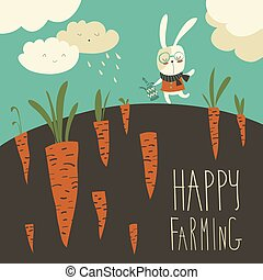 Little rabbit and carrot field