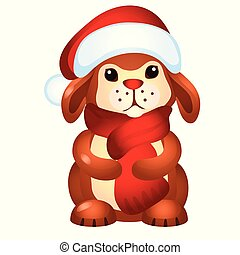 Little rabbit in Santa Claus hat isolated on white background. Sample of poster, party holiday invitation, festive banner, card. Vector cartoon close-up illustration.