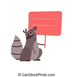 Little Raccoon Holding Red Empty Banner, Cute Cartoon Animal with Blank Sign Board Vector Illustration