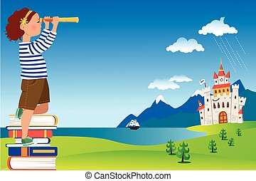 Little reader - Little girl in a sailor shirt standing on a...