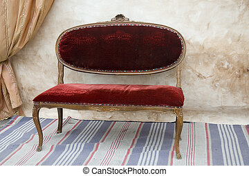 antique bench - little red antique bench with curtains ...