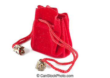 Little red bag - A little red bag for jewelry isolated over ...