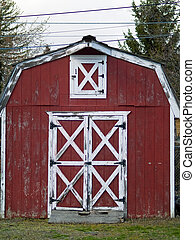 Little Red Barn - Weathered little red barn with white trim