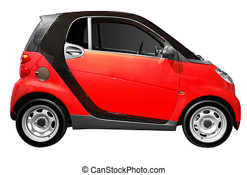 little red city car isolated