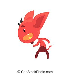Little red devil standing in threatening pose isolated on white. Funny evil fictional character with horns, big ears and tail