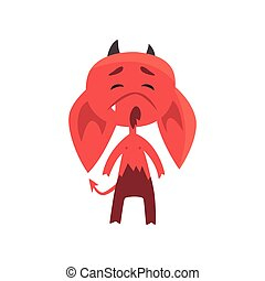 Little red devil with droopy ears showing very upset face expression. Cute fictional monster character in flat style
