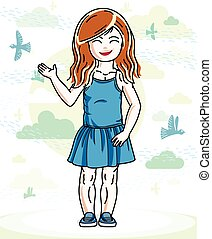 Little red-haired cute girl toddler in casual clothes standing on nature backdrop with birds and clouds. Vector illustration of pretty child.