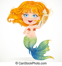 Little red-haired girl mermaid hears sounds in shell