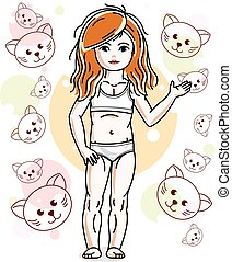 Little red-haired girl toddler in underwear standing on background with cats. Vector attractive kid illustration. Sleep time theme.