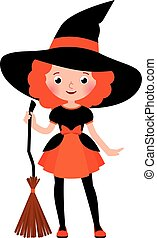 Little red haired girl with a broom in Halloween witch costume