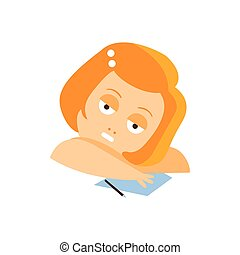 Little Red Head Girl In Red Dress Daydreaming Writing A Letter Flat Cartoon Character Portrait Emoji Vector Illustration