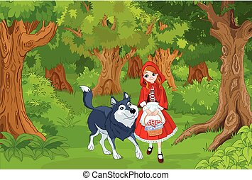 Little Red Hood  - Illustration of little red hood with wolf