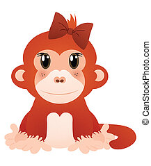 Little Red Monkey in Hair Bow Isolated on White with Clipping Path
