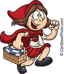 Little Red Ridding Hood. Vector clip art cartoon illustration with simple gradients. All in a single layer.