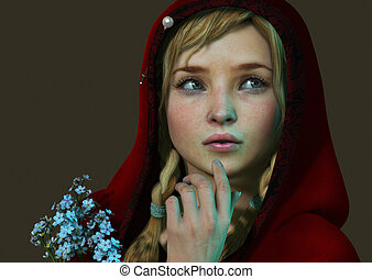 Little Red Riding Hood 3d CG - 3D computer graphics of a...