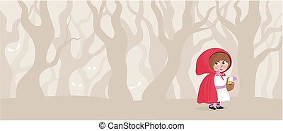 A depiction of little red riding hood in a strange forest.
