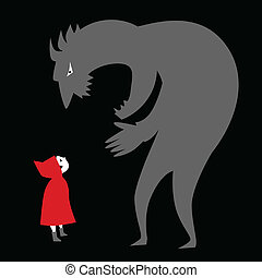 Conceptual illustration on child abuse. Little Red Riding Hood looking at a shadow figure of a monster