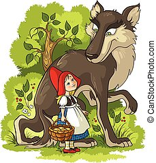 Little Red Riding Hood and Wolf - Vector cartoon fairytale...