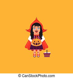 Little Red Riding Hood character for halloween in a flat style