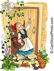 Little Red Riding Hood - Illustration for the Brothers Grimm...