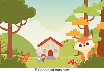 little red riding hood grandma house and wolf in the fairy tale