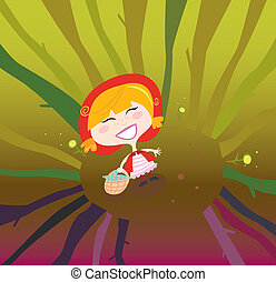 Little Red Riding Hood alone in the forest. Vector Illustration.