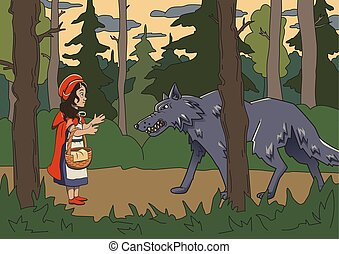 Little red riding hood with big bad wolf in the dark woods. Vector fairy tale illustration.