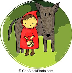 Little Red Riding Hood with the wolf
