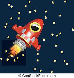 Little red rocket ship flying