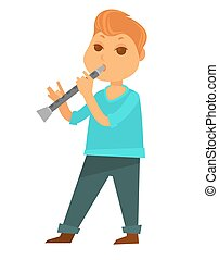 Little redhead boy plays flute isolated cartoon illustration...