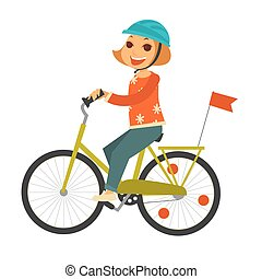 Little redhead girl in helmet rides bicycle with flag -...