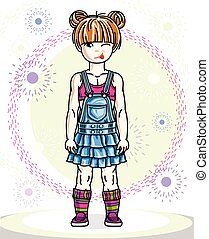 Little redhead girl toddler standing in fashionable casual clothes. Vector kid illustration.