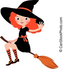 Little redhead sexy Halloween witch flying on a broomstick ...