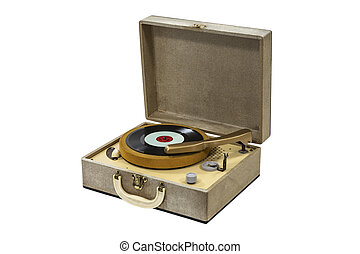Little Retro Record Player Isolated - Little retro record...