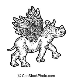 Little rhino with wings. Apparel print design.
