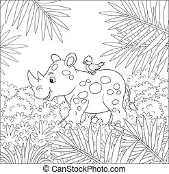Small rhino with a bird going on grass in a summer rainforest, black and white vector cartoon illustration for a coloring book page