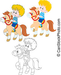 Little rider - boy riding a pony, three versions of the...