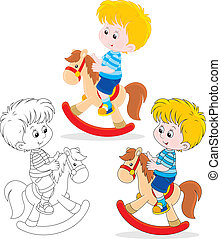 Little rider - Boy riding on a toy horse, three versions of...