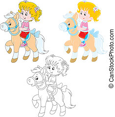 Little rider - Girl riding a pony, three versions of the...