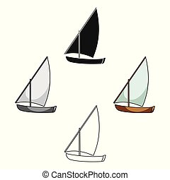Little river sailing for fun. The boat which sails through the wind. Ship and water transport single icon in cartoon style vector symbol stock illustration.