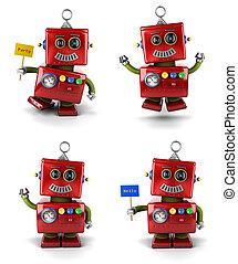 Little robot goofing around - set - Little vintage toy robot...