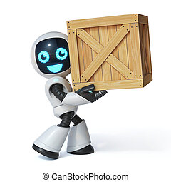 Little robot moving the wooden crate 3d rendering