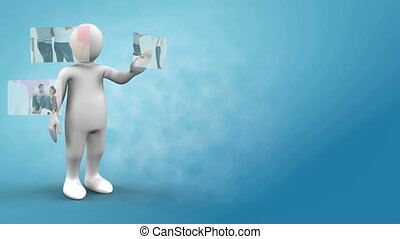Little robot presenting a couple mo