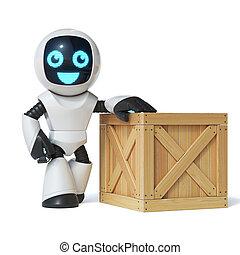 Little robot standing next to wooden crate 3d rendering