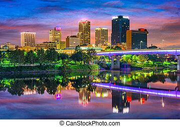 Little Rock, Arkansas, USA downtown skyline on the Arkansas ...
