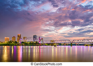 Little Rock, Arkansas, USA skyline on the Arkansas River