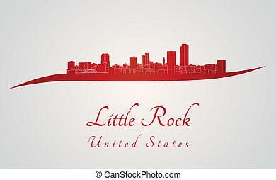 Little Rock skyline in red and gray background in editable ...