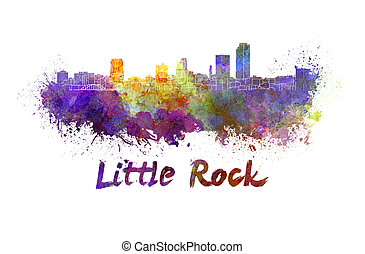 Little Rock skyline in watercolor splatters with clipping ...