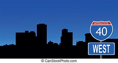 Little Rock skyline interstate sign